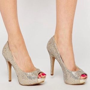 Aldo Peep Toe Gold Glitter Heels